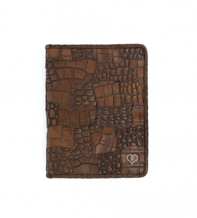 PORTE BLOC NOTES - CROCO LUIGNY - MARRON MOYEN