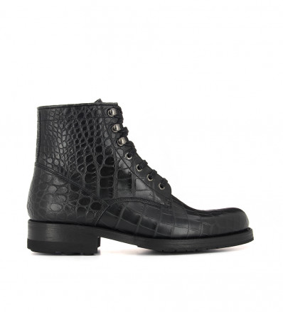 TONY LACE UP - CROCO FIRST - NOIR