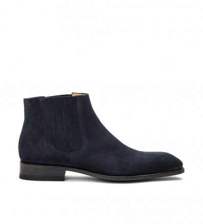 ROMAIN LOW CHELS BOO - CUIR VELOURS - BLEU NUIT