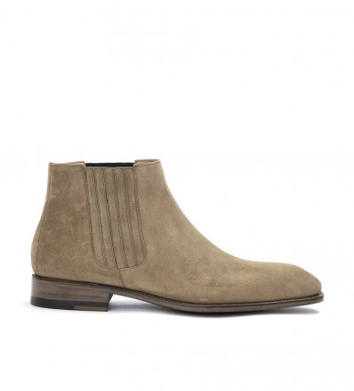 ROMAIN LOW CHELS BOO - CUIR VELOURS - TAUPE
