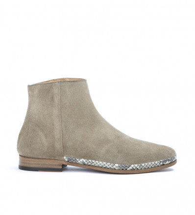 CHARLES FLEX ZIP BOOT - CUIR VELOUR/SNAKE PRINT - TAUPE/NATUREL