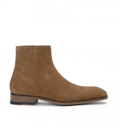 ROMAIN ZIP BOOT - CUIR VELOURS - CIGARE