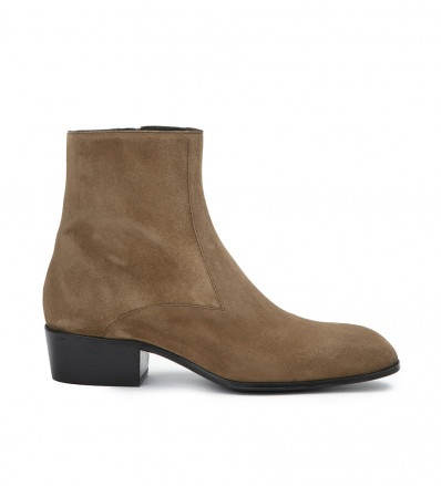 JULES ZIP BOOT - CUIR VELOURS - CIGARE