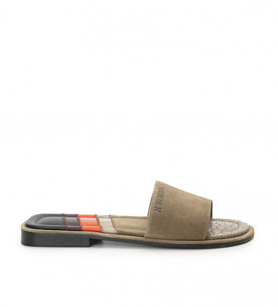 LENNY PATCH SANDAL - CUIR GLAC/PATCH - TAUPE/MIX