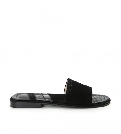 LENNY PATCH SANDAL - CUIR VELO/PATCH - NOIR/MIX