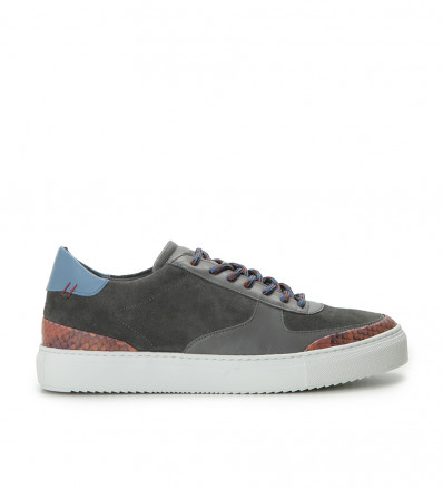 LOW TOP SNEAKERS - PYTHON/NAPPA - GRIS FONCE/ROUGE