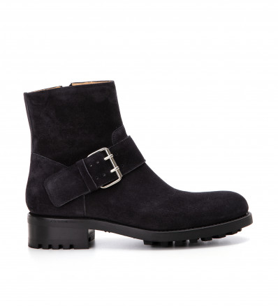 Hyrod Strap Boot - Cuir Velours - Off Black