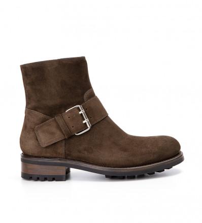 Hyrod Strap Boot - Cuir Velours - Olive