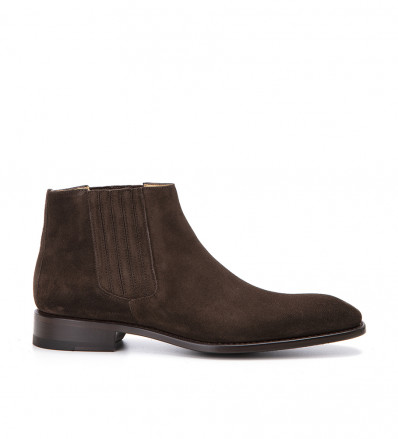Romain Low Chelsea Boot - Cuir Velours - Coffee