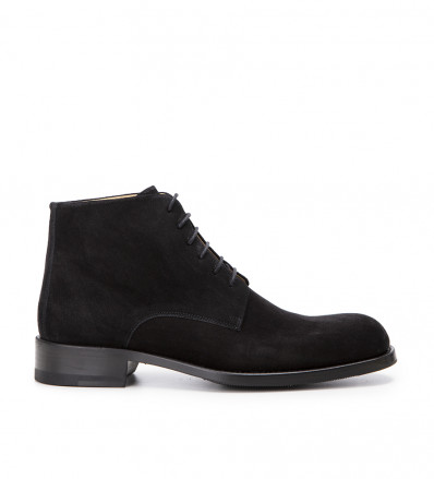 Ron Lace Up - Cuir Velours - Noir