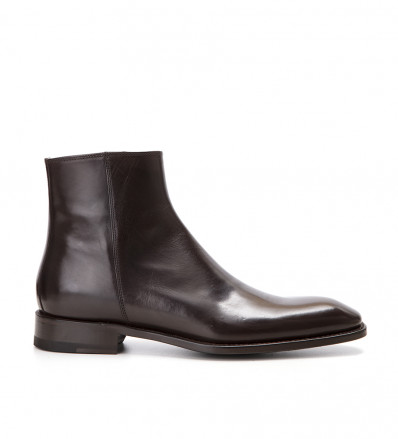 Romain Zip Boot - Cuir Glace - Brun