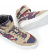 High Top Velcro Sneaker - Cuir Velours/Bombers - Sable/Army Beige