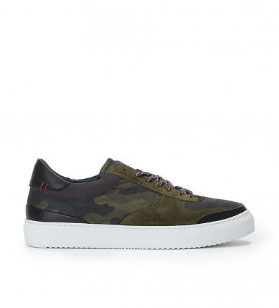 Low Top Sneaker - Cuir Velours/Bombers - Army/Army Kaki