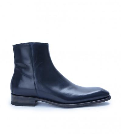 Romain Zip Boots - Cuir Glacé - Marine