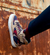 High Top Velcro Sneakers - Cuir Velours/Bombers - Sable/Army Beige