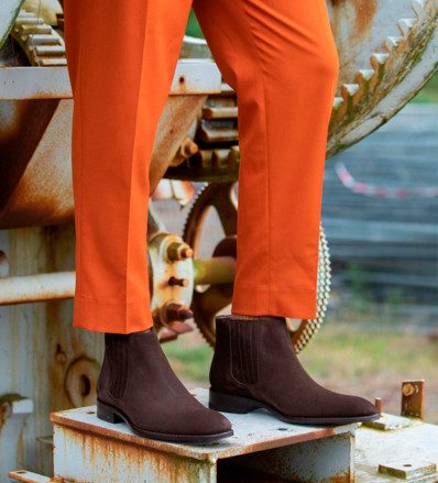 Romain Low Chelsea Boots - Cuir Velours - Coffee