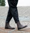Romain Zip Boots - Cuir Velours - Souris