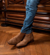 ROMAIN ZIP BOOTS - CUIR VELOURS - CIGARE