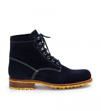 JOHN LACE UP - STRONG VELOURS - NAVY SEM JAUNE