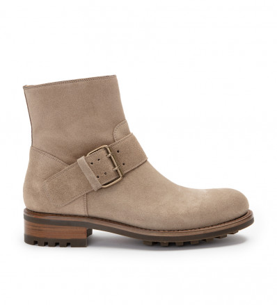 HYROD STRAP BOOT - CUIR VELOURS - IVOIRE