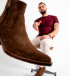 CLINT ZIP BOOT - VELOURS DELAVE - COFFEE