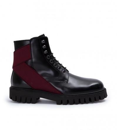 Cross Elast Lace Up Boot - Cuir Glace - Noir
