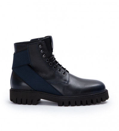 Cross Elast Lace Up Boot - Cuir Patine - Dark Navy