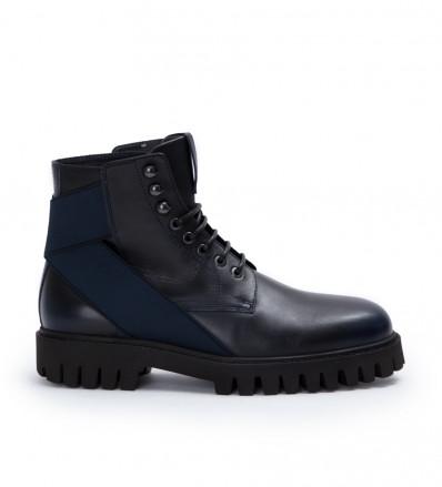 Cross Elast Lace Up Boot - Cuir Patine - Dark Navy