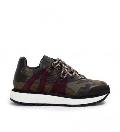 Lauda Hiking Sneaker - Nylon Camouflage/Cuir Velours/Cuir Lisse/Nubuck - Army/Army/Army/Wine