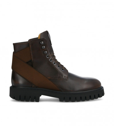 Cross Elast Lace Up Boots - Cuir Patiné - Truffe