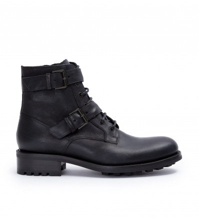 Hyrod Two Buckle Zip Boot - Cuir Lisse - Noir