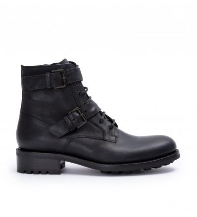 Hyrod Two Buckle Zip Boots - Cuir Lisse - Noir