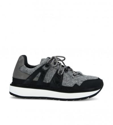 Lauda Hiking Sneaker - Laine Impermeable/Gomme /Cuir Lisse/Nubuck - Caviar/Noir/Noir/Cendre