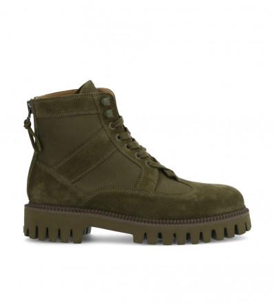 Cross Back Zip Boot - Velours/Tissu - Jungle/Tilleul