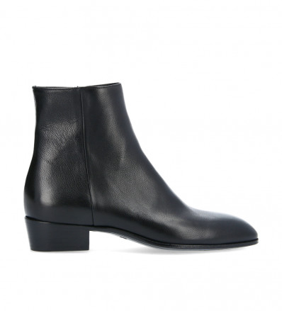 Zipped boot Alfredo - Grained leather - Black