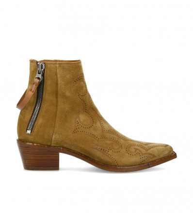 Embroidered boot with double zip Clint - Suede leather - Brown