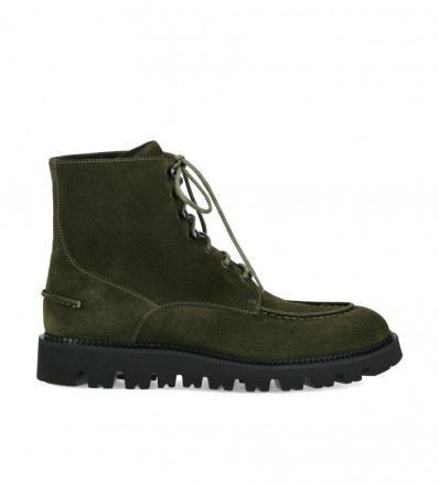 Lace-up boot James - Smooth calf leather/Suede leather - Khaki