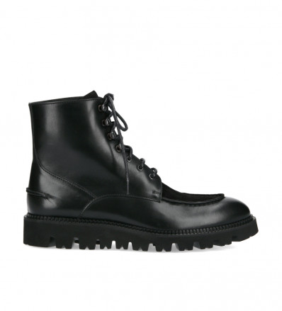 Lace-up boot James - Smooth calf leather/Suede leather - Black