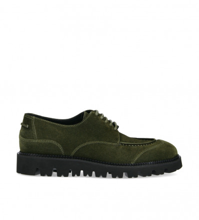 Platform derby James - Suede leather - Khaki