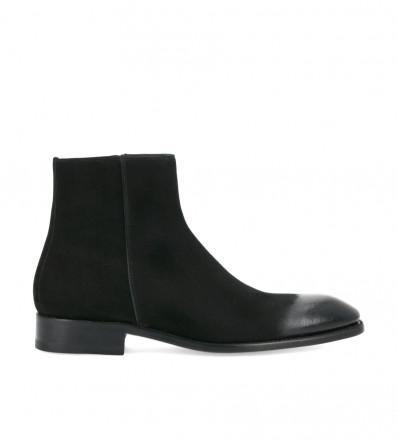 Boot zippée Romain - Cuir velours verni - Noir