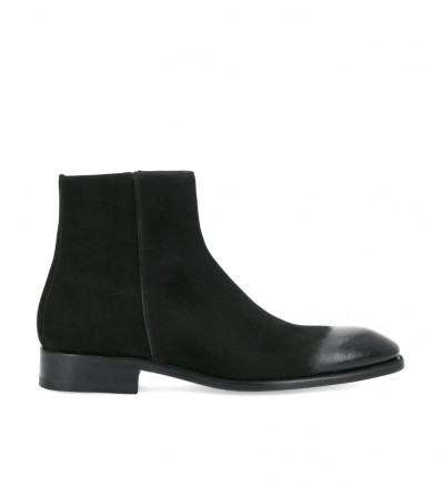 Zipped boot Romain - Patent suede leather - Black