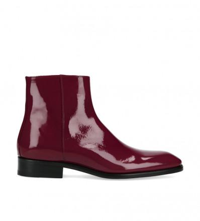 Zipped boot Romain - Patent leather - Bordeaux