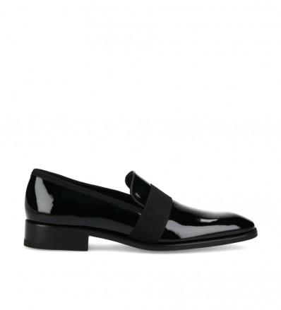 Slipper loafer Romain - Patent leather/Gros-Grain Satin - Black