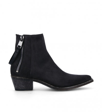 Boot with double zip Clint - Suede leather - Dark grey